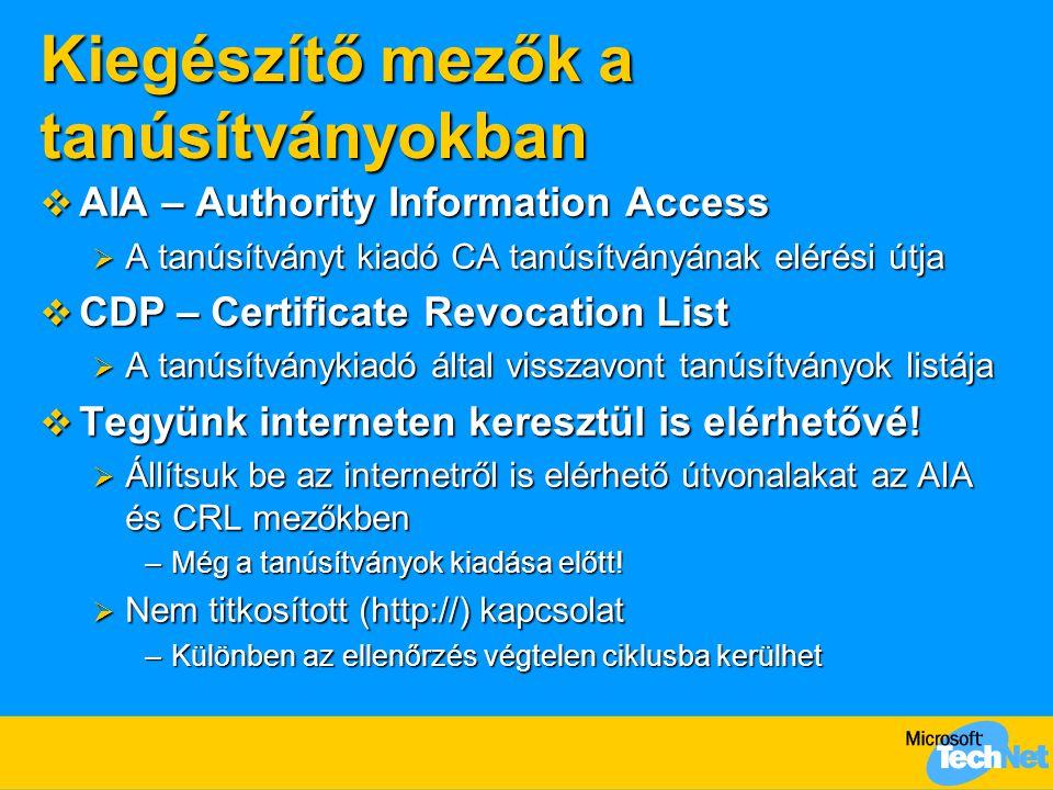 Kiegészítő mezők a tanúsítványokban  AIA – Authority Information Access  A tanúsítványt kiadó CA tanúsítványának elérési útja  CDP – Certificate Re