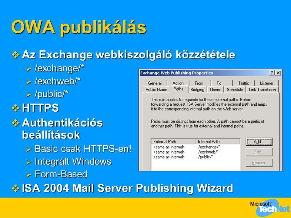 OWA publikálás  Az Exchange webkiszolgáló közzététele  /exchange/*  /exchweb/*  /public/*  HTTPS  Authentikációs beállítások  Basic csak HTTPS-