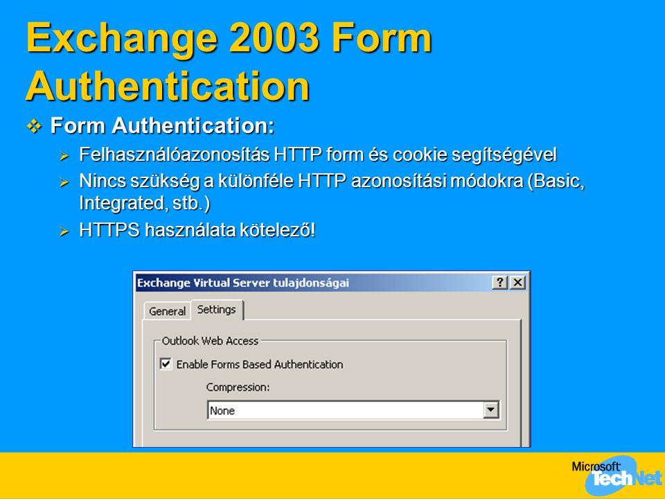 Exchange 2003 Form Authentication  Form Authentication:  Felhasználóazonosítás HTTP form és cookie segítségével  Nincs szükség a különféle HTTP azo