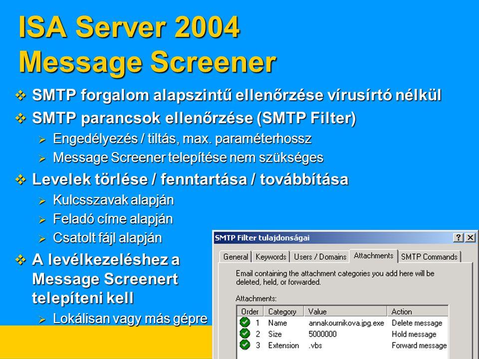 ISA Server 2004 Message Screener  SMTP forgalom alapszintű ellenőrzése vírusírtó nélkül  SMTP parancsok ellenőrzése (SMTP Filter)  Engedélyezés / t