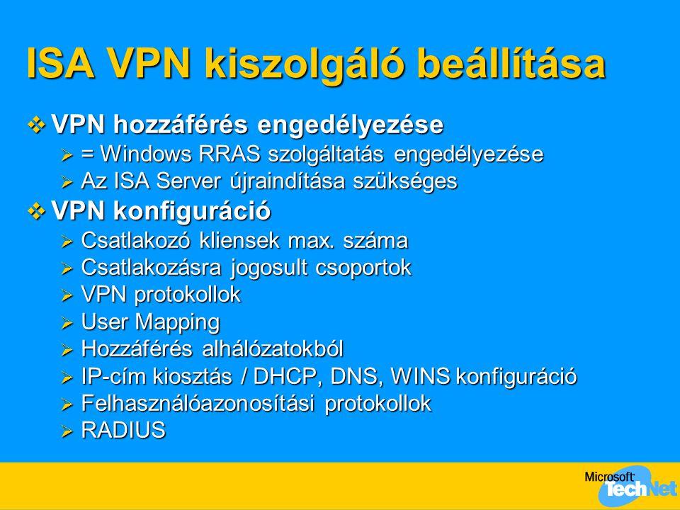 ISA VPN kiszolgáló beállítása  VPN hozzáférés engedélyezése  = Windows RRAS szolgáltatás engedélyezése  Az ISA Server újraindítása szükséges  VPN