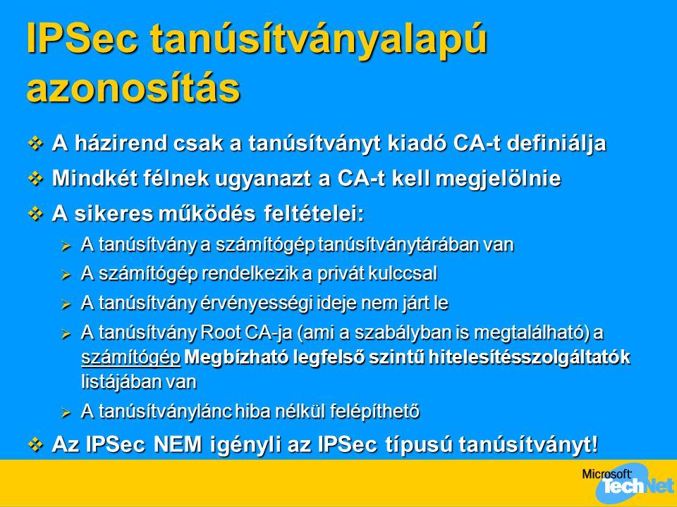 IPSec tanúsítványalapú azonosítás  A házirend csak a tanúsítványt kiadó CA-t definiálja  Mindkét félnek ugyanazt a CA-t kell megjelölnie  A sikeres
