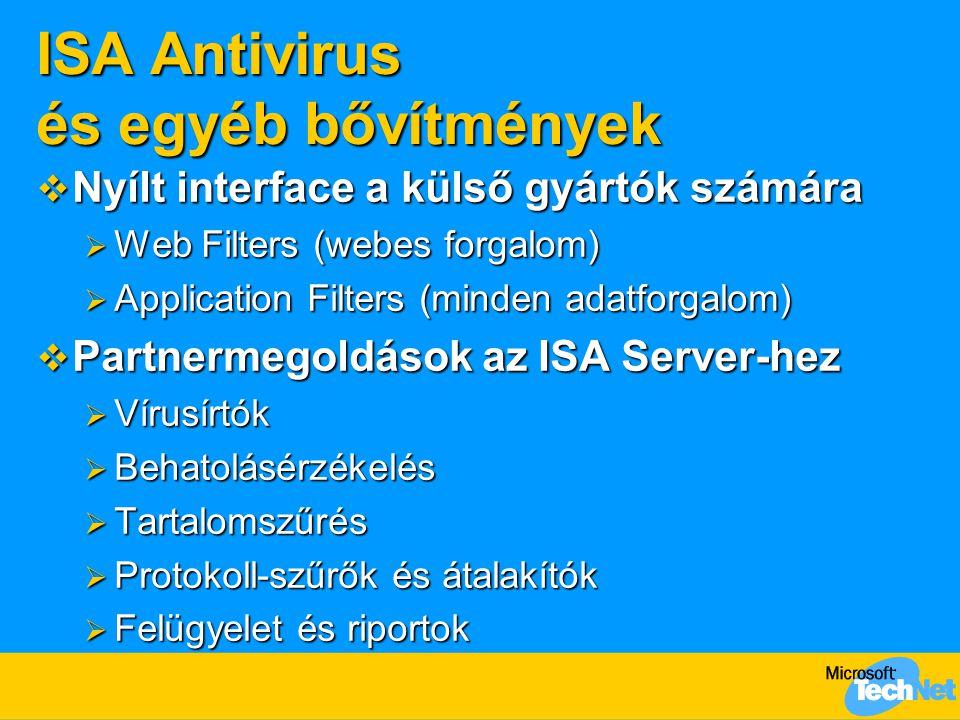 ISA Antivirus és egyéb bővítmények  Nyílt interface a külső gyártók számára  Web Filters (webes forgalom)  Application Filters (minden adatforgalom