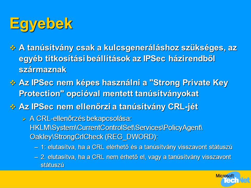 Egyebek  A tanúsítvány csak a kulcsgeneráláshoz szükséges, az egyéb titkosítási beállítások az IPSec házirendből származnak  Az IPSec nem képes hasz