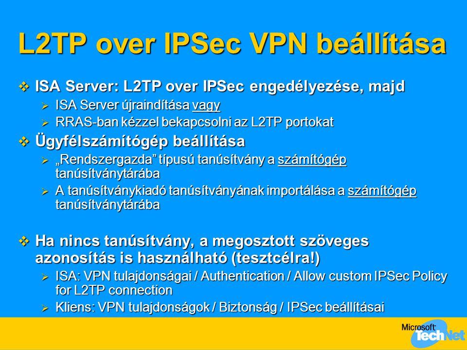 L2TP over IPSec VPN beállítása  ISA Server: L2TP over IPSec engedélyezése, majd  ISA Server újraindítása vagy  RRAS-ban kézzel bekapcsolni az L2TP
