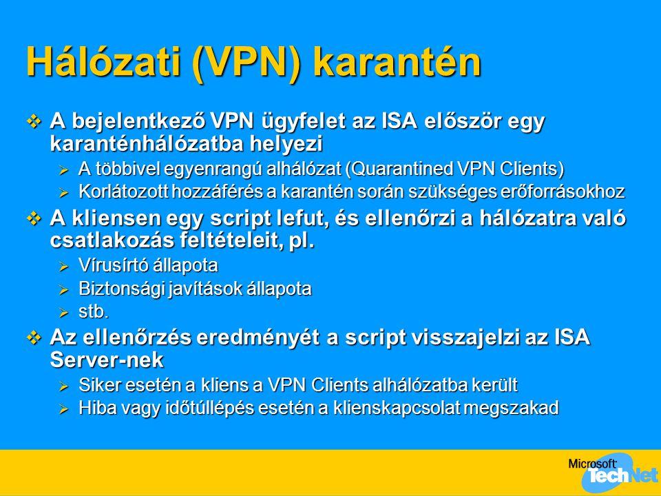 Hálózati (VPN) karantén  A bejelentkező VPN ügyfelet az ISA először egy karanténhálózatba helyezi  A többivel egyenrangú alhálózat (Quarantined VPN