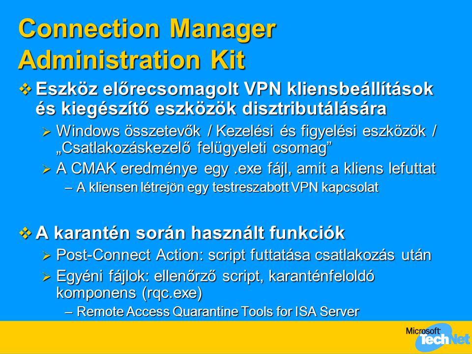 Connection Manager Administration Kit  Eszköz előrecsomagolt VPN kliensbeállítások és kiegészítő eszközök disztributálására  Windows összetevők / Ke