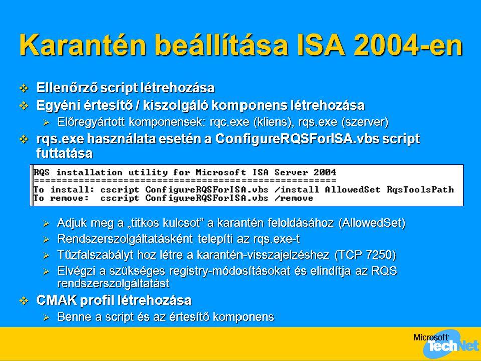 Karantén beállítása ISA 2004-en  Ellenőrző script létrehozása  Egyéni értesítő / kiszolgáló komponens létrehozása  Előregyártott komponensek: rqc.e