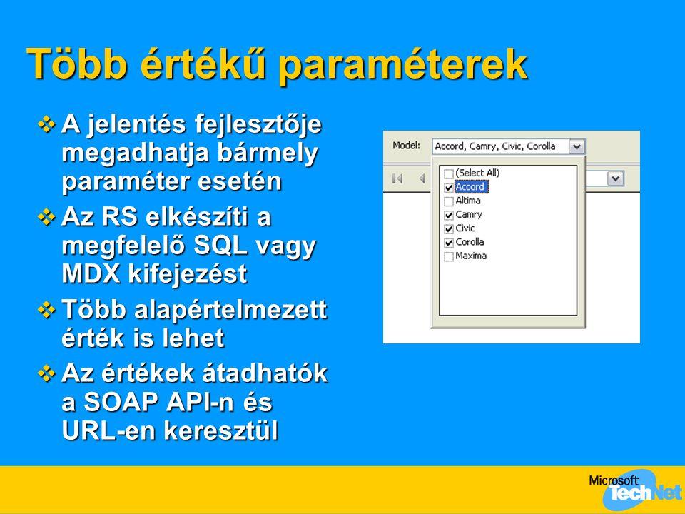 Több értékű paraméterek  A jelentés fejlesztője megadhatja bármely paraméter esetén  Az RS elkészíti a megfelelő SQL vagy MDX kifejezést  Több alapértelmezett érték is lehet  Az értékek átadhatók a SOAP API-n és URL-en keresztül