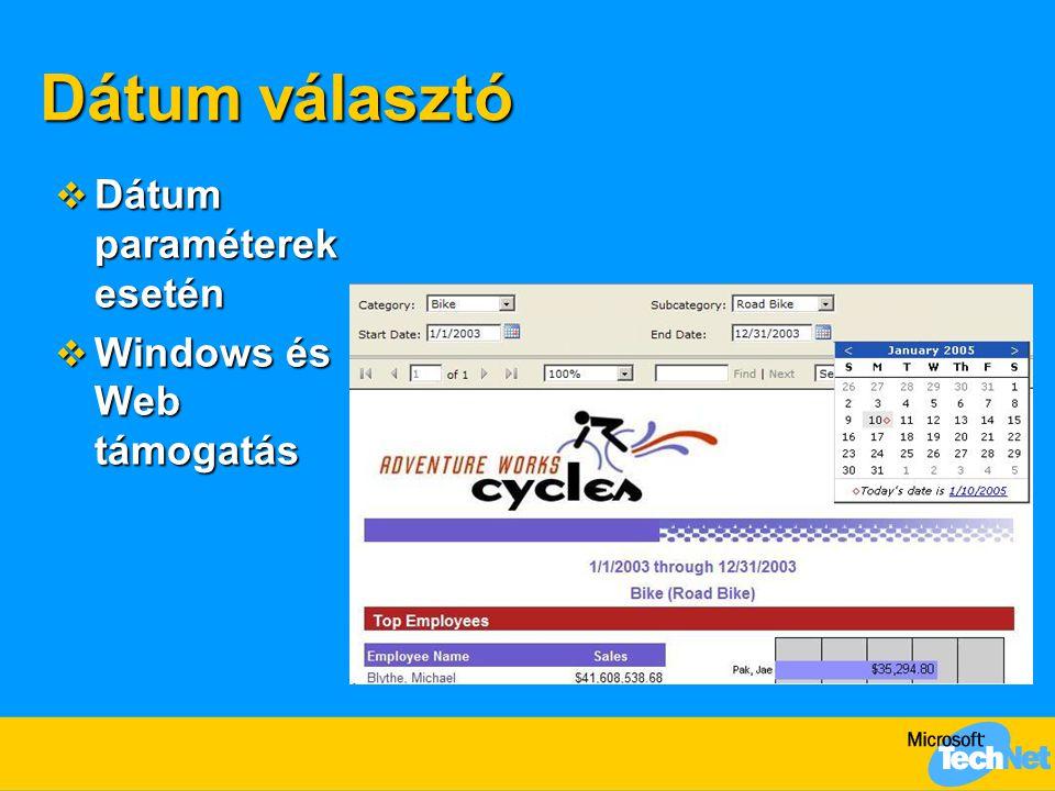 Dátum választó  Dátum paraméterek esetén  Windows és Web támogatás