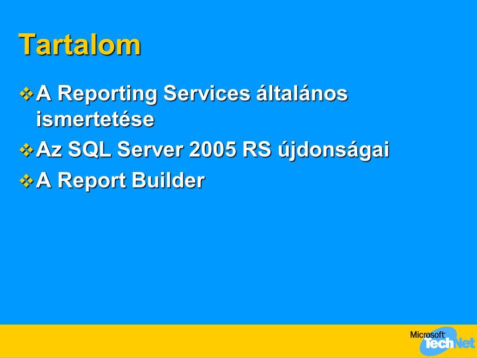 A Reporting Services története  SQL Server 2000 Reporting Services  Belső felhasználók (MOM)  SQL Server 2000 Reporting Services SP1  Javítások, Excel 2000 támogatás, …  SQL Server 2000 Reporting Services SP2  SharePoint Web Part kijelzők, kliens oldali nyomtatás, …  SQL Server 2005 áprilisi CTP (Community Technical Preview)  Sok új szolgáltatás, 64 bit támogatás  SQL Server 2005 RTM