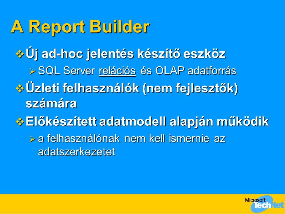 A Report Builder  Új ad-hoc jelentés készítő eszköz  SQL Server relációs és OLAP adatforrás  Üzleti felhasználók (nem fejlesztők) számára  Előkészített adatmodell alapján működik  a felhasználónak nem kell ismernie az adatszerkezetet