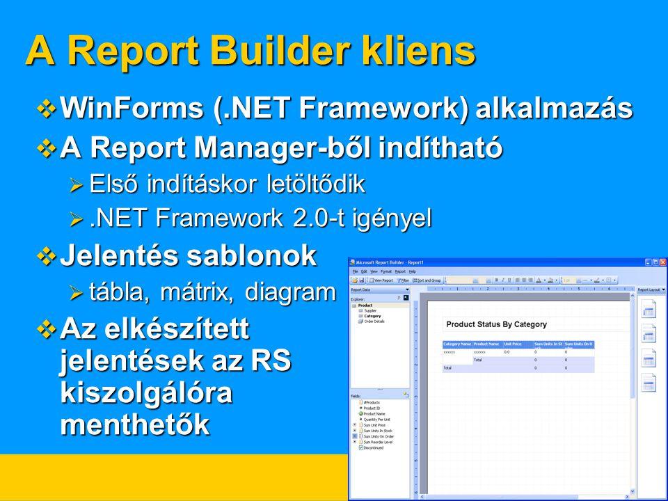 A Report Builder kliens  WinForms (.NET Framework) alkalmazás  A Report Manager-ből indítható  Első indításkor letöltődik .NET Framework 2.0-t igényel  Jelentés sablonok  tábla, mátrix, diagram  Az elkészített jelentések az RS kiszolgálóra menthetők