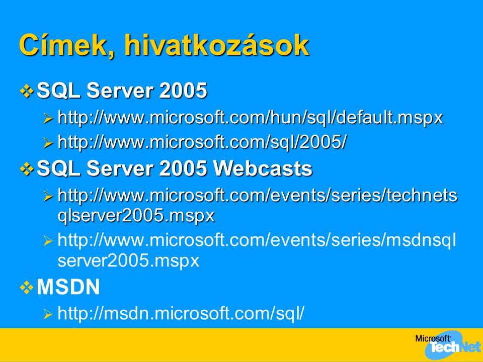 Címek, hivatkozások  SQL Server 2005  http://www.microsoft.com/hun/sql/default.mspx  http://www.microsoft.com/sql/2005/  SQL Server 2005 Webcasts  http://www.microsoft.com/events/series/technets qlserver2005.mspx   http://www.microsoft.com/events/series/msdnsql server2005.mspx   MSDN   http://msdn.microsoft.com/sql/