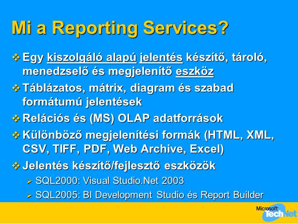A Report Builder és a BI Development Studio jellemzői Report Builder BI Development Studio Üzleti felhasználók Infomunkások és fejlesztők Ad hoc jelentések Menedzselt jelentések Automatikusan generált lekérdezések Natív lekérdezések (SQL, OLE DB, XML/A, ODBC, Oracle) Jelentések sablonok alapján Szabad formátumú (beágyazott, sávos) jelentések Egy kattintásos telepítés; egyszerű kezelés Visual Studio 2005 integráció - A Report Builder jelentéseit tovább tudja alakítani