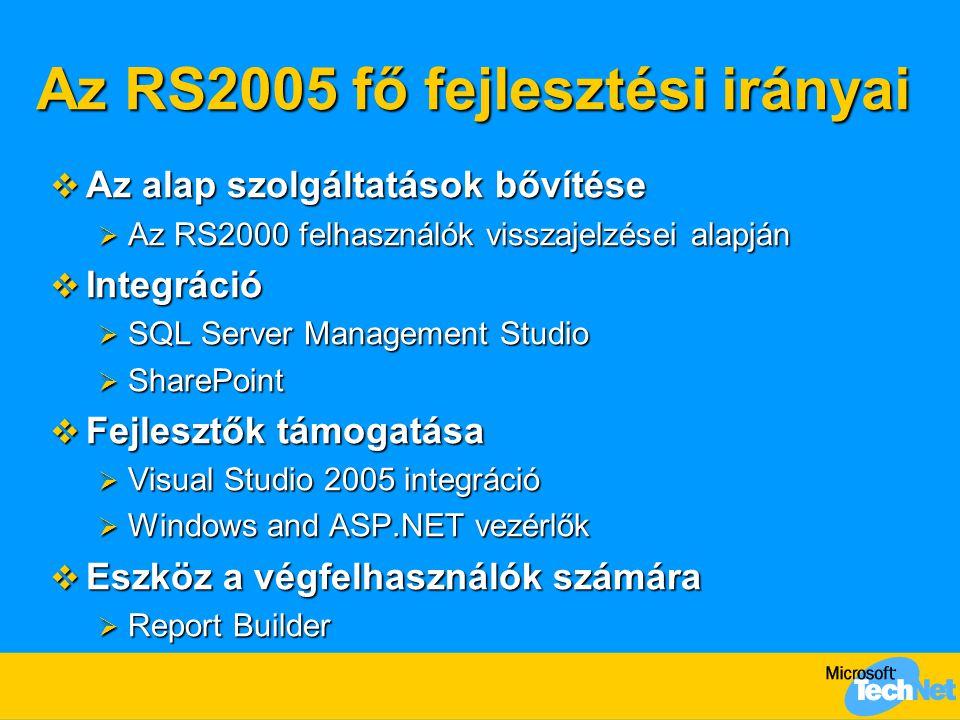 Újdonságok a 2005-ös verzióban  Report Builder  VS integráció  VS vezérlők  Interaktív rendezés  Több értékű paraméterek  Paraméter dátum választó vezérlő  SQL Server Management Studio integráció  MDX lekérdezés készítő  Konfiguráló eszköz  Fejléc rögzítése  Nyomtatás IE-ből (SP2)  Web kijelzők (SP2)  64 bit támogatás  Több RS példány – az SQL Server-hez hasonlóan  Kifejezés szerkesztő fejlesztések
