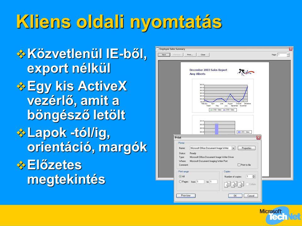 Kliens oldali nyomtatás  Közvetlenül IE-ből, export nélkül  Egy kis ActiveX vezérlő, amit a böngésző letölt  Lapok -tól/ig, orientáció, margók  Előzetes megtekintés