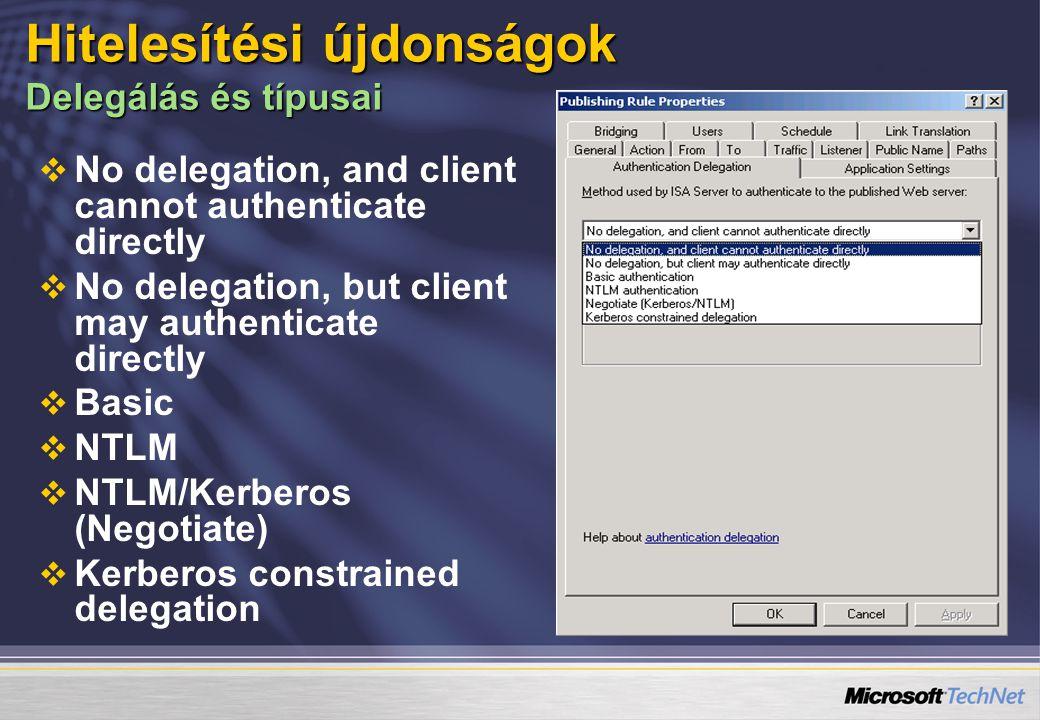   No delegation, and client cannot authenticate directly   No delegation, but client may authenticate directly   Basic   NTLM   NTLM/Kerberos (Negotiate)   Kerberos constrained delegation Hitelesítési újdonságok Delegálás és típusai