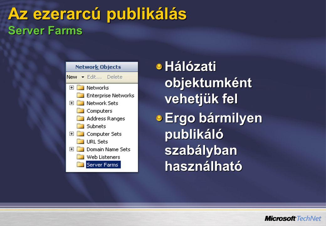 Hálózati objektumként vehetjük fel Ergo bármilyen publikáló szabályban használható Az ezerarcú publikálás Server Farms
