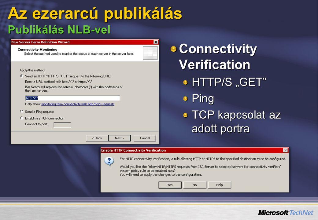 """Connectivity Verification HTTP/S """"GET Ping TCP kapcsolat az adott portra Az ezerarcú publikálás Publikálás NLB-vel"""