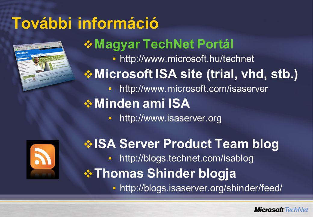 További információ   Magyar TechNet Portál   http://www.microsoft.hu/technet   Microsoft ISA site (trial, vhd, stb.)   http://www.microsoft.com/isaserver   Minden ami ISA   http://www.isaserver.org   ISA Server Product Team blog   http://blogs.technet.com/isablog   Thomas Shinder blogja   http://blogs.isaserver.org/shinder/feed/