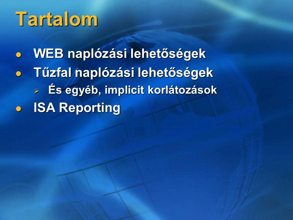 Tartalom WEB naplózási lehetőségek WEB naplózási lehetőségek Tűzfal naplózási lehetőségek Tűzfal naplózási lehetőségek  És egyéb, implicit korlátozások ISA Reporting ISA Reporting