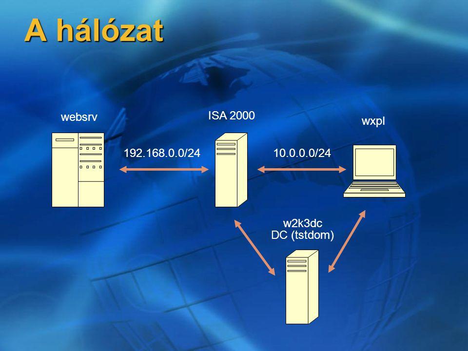 Naplózás általánosságban Alapértelmezetten bekapcsolva Alapértelmezetten bekapcsolva \...\Microsoft ISA Server\ISALogs \...\Microsoft ISA Server\ISALogs  Tömörített alkönyvtár WEB, tűzfal, IP packet filter WEB, tűzfal, IP packet filter Olvasható, TAB szeparált szöveg formátum Olvasható, TAB szeparált szöveg formátum  Közvetlen SQL szerverbe naplózás lehetséges – de nem ajánlott!