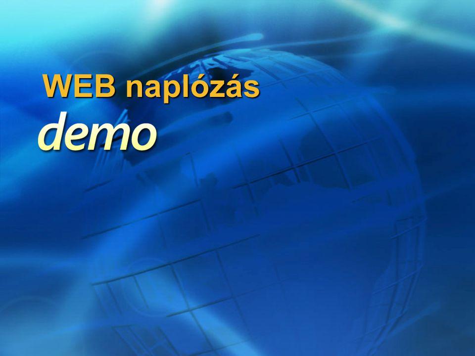 WEB naplózás összegzés Kliens: Kliens:  Proxy beállítása (?)  Érvényes felhasználónév és jelszó Szerver: Szerver:  Tartomány megléte  Ask unauthenticated users… Automatikus konfigurálás Automatikus konfigurálás  Group Policy, vagy  DNS – WPAD alias, vagy DHCP – 252-es opció, és  Kliens: Proxybeállítások automatikus észlelése