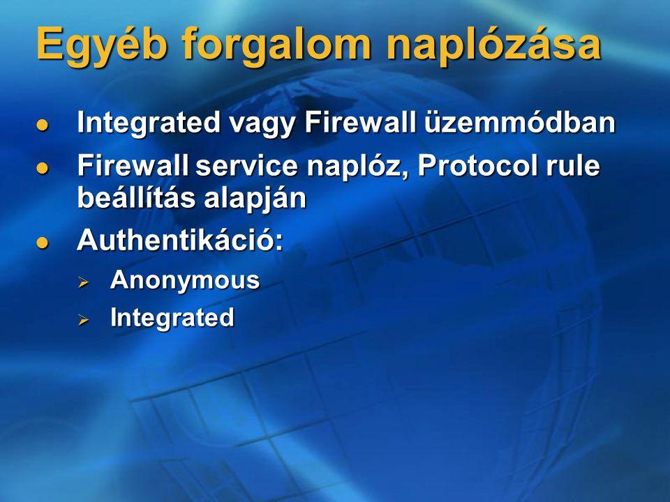 Egyéb forgalom naplózása Integrated vagy Firewall üzemmódban Integrated vagy Firewall üzemmódban Firewall service naplóz, Protocol rule beállítás alapján Firewall service naplóz, Protocol rule beállítás alapján Authentikáció: Authentikáció:  Anonymous  Integrated