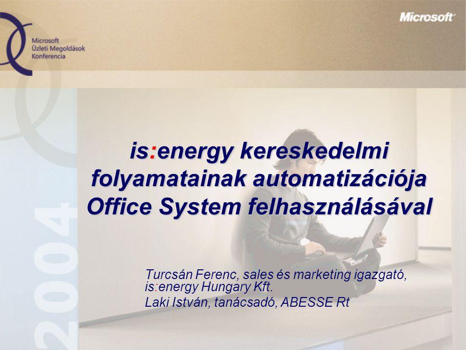 is:energy kereskedelmi folyamatainak automatizációja Office System felhasználásával Turcsán Ferenc, sales és marketing igazgató, is:energy Hungary Kft.