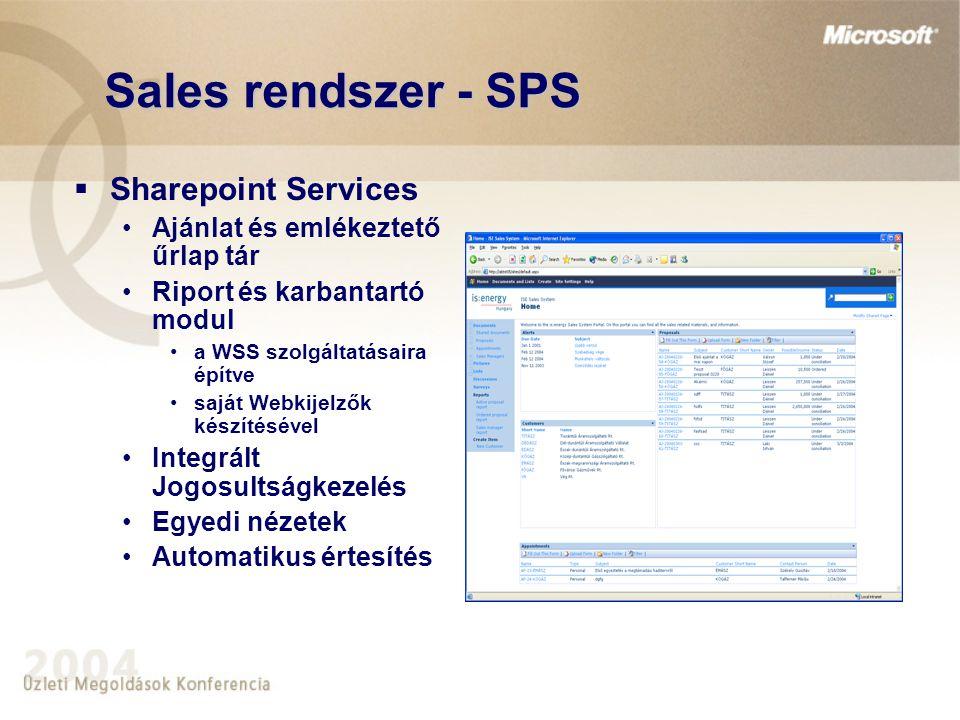 Sales rendszer - SPS  Sharepoint Services Ajánlat és emlékeztető űrlap tár Riport és karbantartó modul a WSS szolgáltatásaira építve saját Webkijelzők készítésével Integrált Jogosultságkezelés Egyedi nézetek Automatikus értesítés