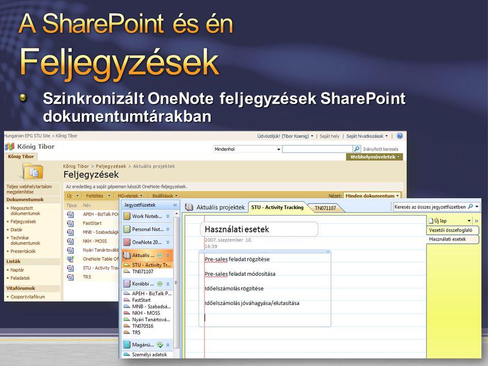 Szinkronizált OneNote feljegyzések SharePoint dokumentumtárakban