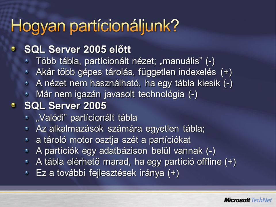 """SQL Server 2005 előtt Több tábla, partícionált nézet; """"manuális"""" (-) Akár több gépes tárolás, független indexelés (+) A nézet nem használható, ha egy"""