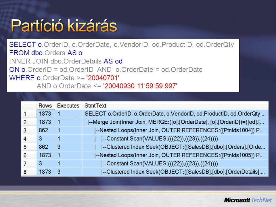 Partíció # 12345 2002-01-01 2003-01-01 2004-01-01 2005-01-01 2001 & korábbi 2002 adatok 2003 adatok 2004 adatok 2005 & későbbi [üres] Előkészítő tábla létrehozása Split az utolsó partíción (alter partition func.) Bulk load és index az előkészítő táblán Switch (alter table … switch partition) [üres] 2006-01-01 2005 adatok 2006 & későbbi 6 2005 Staging Table