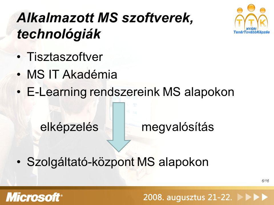 Alkalmazott MS szoftverek, technológiák Tisztaszoftver MS IT Akadémia E-Learning rendszereink MS alapokon elképzelés megvalósítás Szolgáltató-központ