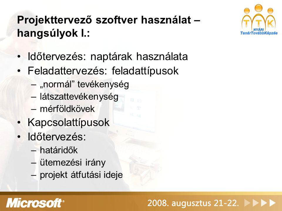 """Projekttervező szoftver használat – hangsúlyok I.: Időtervezés: naptárak használata Feladattervezés: feladattípusok –""""normál"""" tevékenység –látszattevé"""