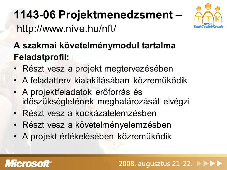 1143-06 Projektmenedzsment – http://www.nive.hu/nft/ A szakmai követelménymodul tartalma Feladatprofil: Részt vesz a projekt megtervezésében A feladat