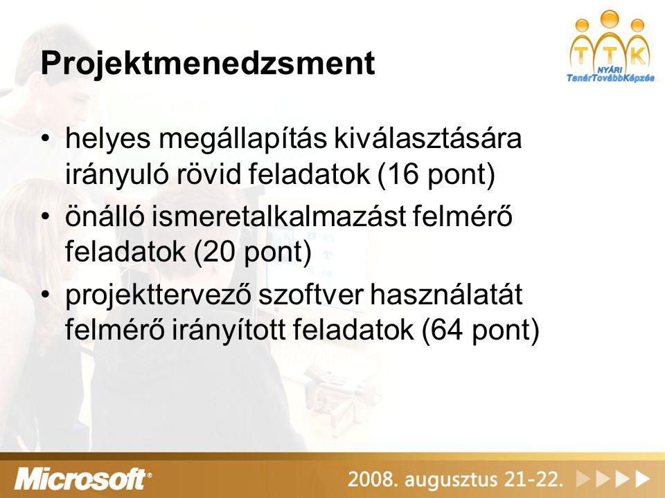 Projektmenedzsment helyes megállapítás kiválasztására irányuló rövid feladatok (16 pont) önálló ismeretalkalmazást felmérő feladatok (20 pont) projekt