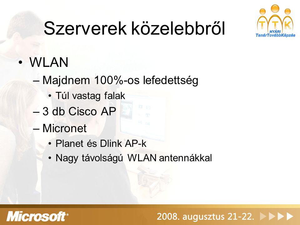 Szerverek közelebbről WLAN –Majdnem 100%-os lefedettség Túl vastag falak –3 db Cisco AP –Micronet Planet és Dlink AP-k Nagy távolságú WLAN antennákkal
