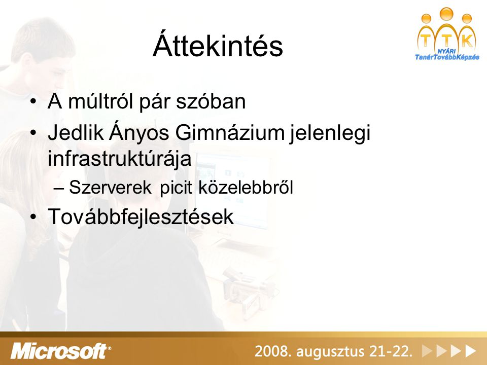 A múltról pár szóban Őskor –2 db NT4-es DC Exchange 5.5 –1 db proxy server –1 db webserver Középkor –2 db Windows 2000 DC Exchange 2000 –2 db ISA 2000 –1 db webserver
