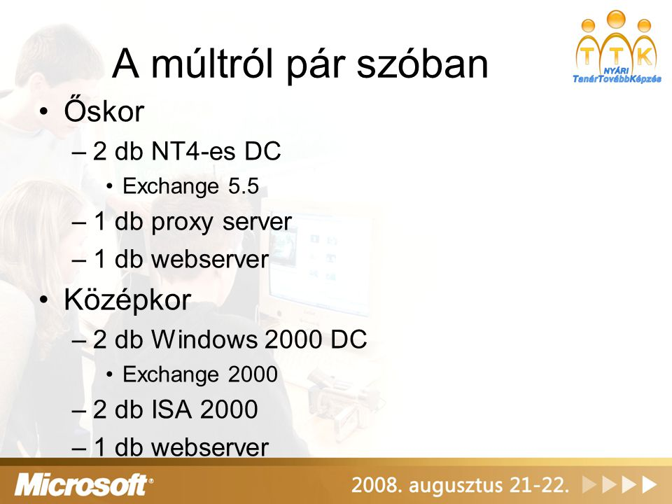 A múltról pár szóban Őskor –2 db NT4-es DC Exchange 5.5 –1 db proxy server –1 db webserver Középkor –2 db Windows 2000 DC Exchange 2000 –2 db ISA 2000