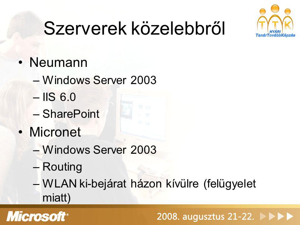 Szerverek közelebbről Neumann –Windows Server 2003 –IIS 6.0 –SharePoint Micronet –Windows Server 2003 –Routing –WLAN ki-bejárat házon kívülre (felügyelet miatt)