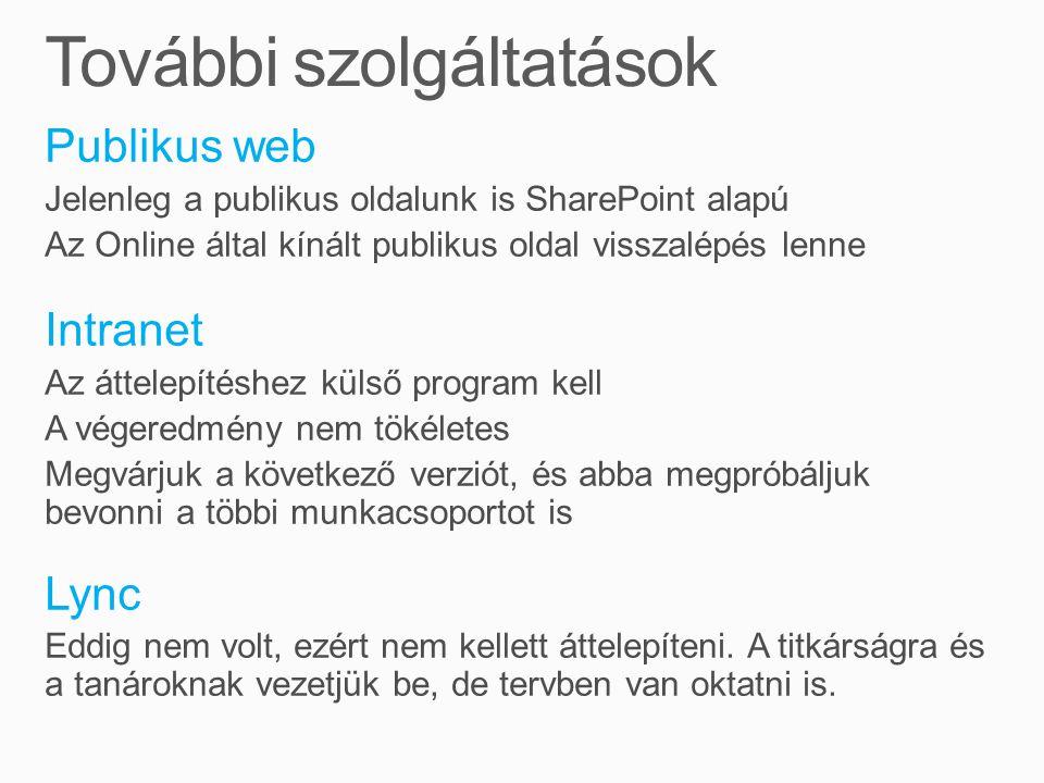 Publikus web Jelenleg a publikus oldalunk is SharePoint alapú Az Online által kínált publikus oldal visszalépés lenne Intranet Az áttelepítéshez külső program kell A végeredmény nem tökéletes Megvárjuk a következő verziót, és abba megpróbáljuk bevonni a többi munkacsoportot is Lync Eddig nem volt, ezért nem kellett áttelepíteni.