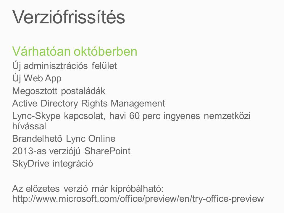 Várhatóan októberben Új adminisztrációs felület Új Web App Megosztott postaládák Active Directory Rights Management Lync-Skype kapcsolat, havi 60 perc ingyenes nemzetközi hívással Brandelhető Lync Online 2013-as verziójú SharePoint SkyDrive integráció Az előzetes verzió már kipróbálható: http://www.microsoft.com/office/preview/en/try-office-preview