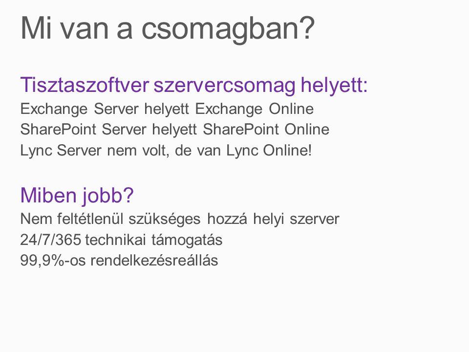 Tisztaszoftver szervercsomag helyett: Exchange Server helyett Exchange Online SharePoint Server helyett SharePoint Online Lync Server nem volt, de van Lync Online.