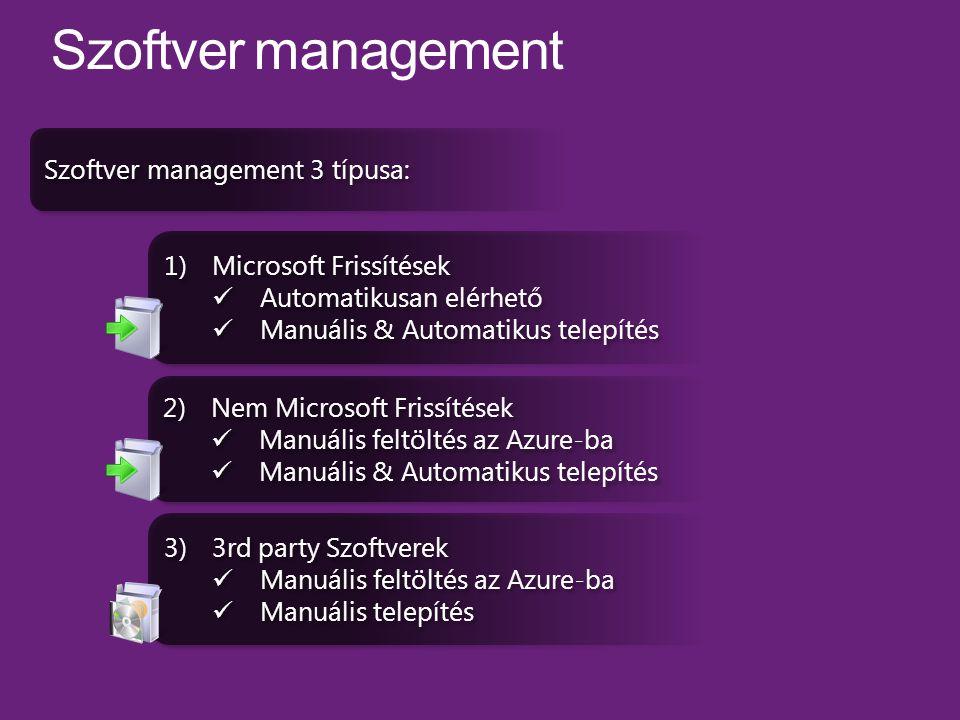 1)Microsoft Frissítések Automatikusan elérhető Manuális & Automatikus telepítés 1)Microsoft Frissítések Automatikusan elérhető Manuális & Automatikus telepítés 2)Nem Microsoft Frissítések Manuális feltöltés az Azure-ba Manuális & Automatikus telepítés 2)Nem Microsoft Frissítések Manuális feltöltés az Azure-ba Manuális & Automatikus telepítés 3)3rd party Szoftverek Manuális feltöltés az Azure-ba Manuális telepítés 3)3rd party Szoftverek Manuális feltöltés az Azure-ba Manuális telepítés Szoftver management 3 típusa: