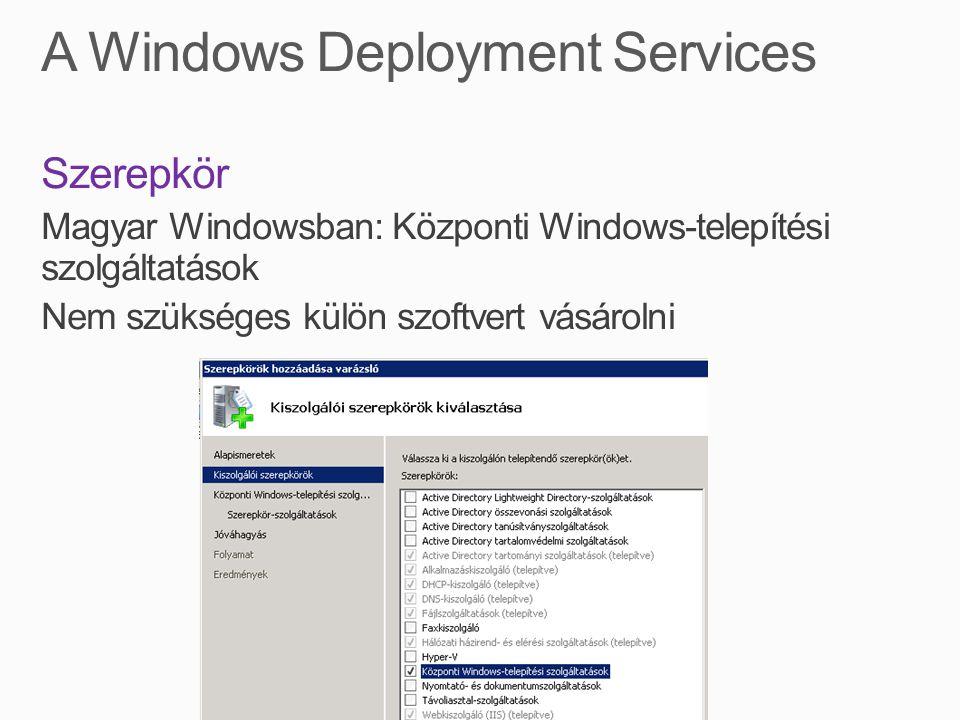 Szerepkör Magyar Windowsban: Központi Windows-telepítési szolgáltatások Nem szükséges külön szoftvert vásárolni