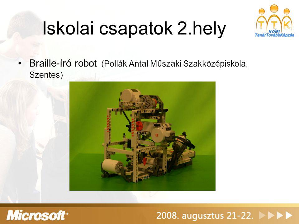 Iskolai csapatok 3.hely Doboló robot (Schulek Frigyes Kéttannyelvű Építőipari és Műszaki Szakközépiskola)