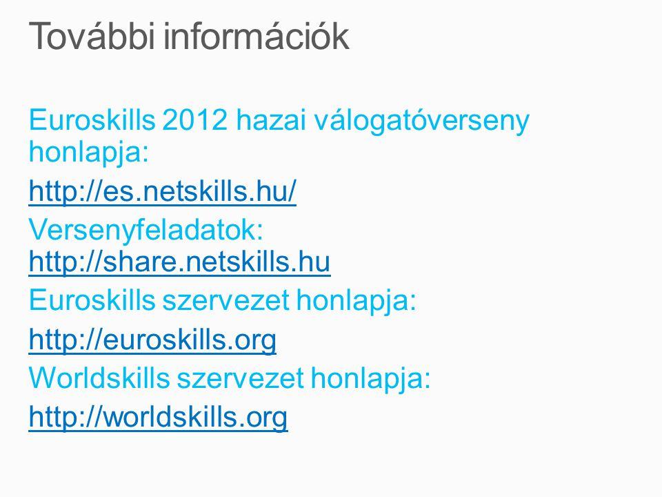 Euroskills 2012 hazai válogatóverseny honlapja: http://es.netskills.hu/ Versenyfeladatok: http://share.netskills.hu http://share.netskills.hu Euroskills szervezet honlapja: http://euroskills.org Worldskills szervezet honlapja: http://worldskills.org