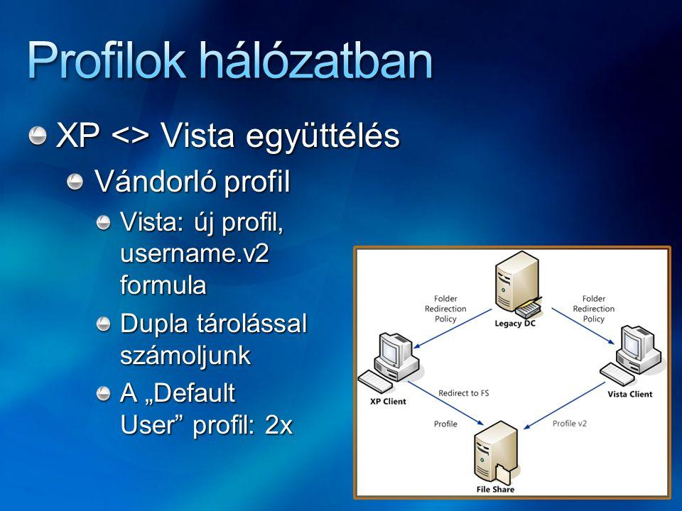 XP <> Vista együttélés Vándorló profil (folytatás) A két profil között nincs kapcsolat, az alkalmazások adatai, beállításai külön-külön szerepelnek Két azonos OS között viszont továbbra is él a profil Kötelező profil Újra be kell állítani a.v2 profilmappában